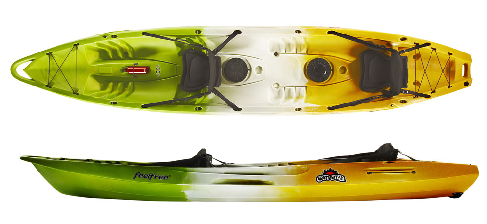 Feelfree Corona Tandem Sit On Top Kayak with an extra childs seat
