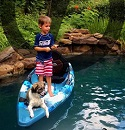 Child and Dog enjoying fishing from the Feelfree Move Sit on Top