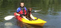 Paddling the Feelfree Nomad Sport sit on top kayak with a dog